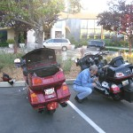Motorcycle maintenance at the hotel in Palo Alto