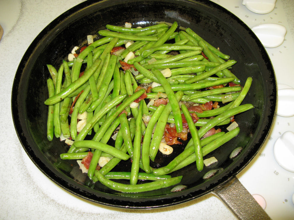 Sautéeing the beans
