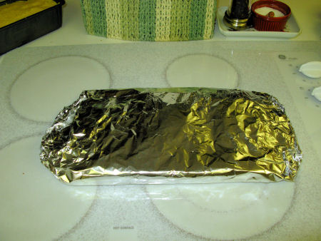 Brisket rubbed & wrapped in foil, ready for the fridge