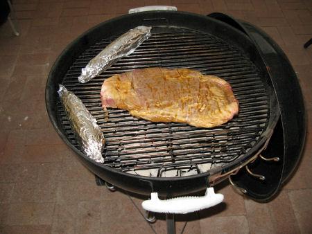Corn & flank steak on the grill