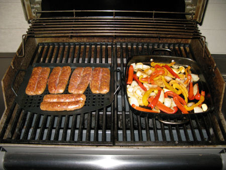Grilling the sausage & vegetables