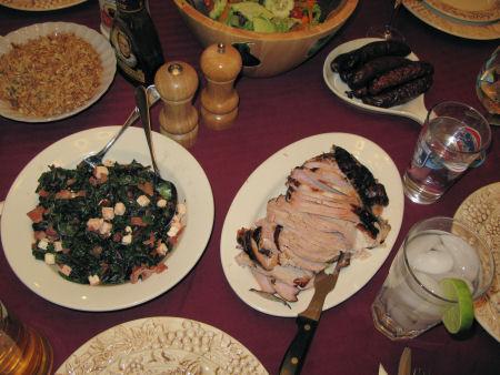 Rice pilaf, Swiss chard, smoked turkey breast, smoked turkey sausage