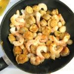Sausage, shrimp, pearl onions